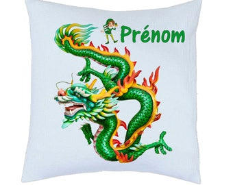Pillow satin Chinese dragon motif personalized name choice ref 97