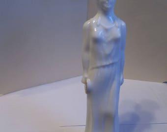 Vintage 1970's Avon Skin So Soft Greek Goddess White Glass Bottle (empty)