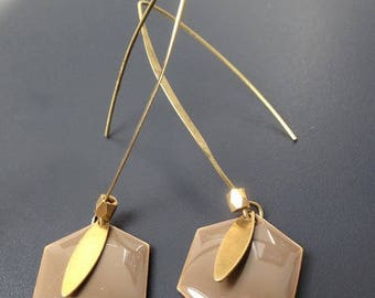 Gold swing with Hexagon taupe vintage