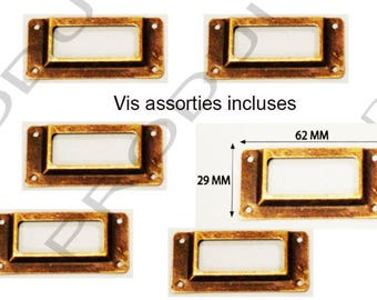 Set of 6 label color Bronze filing drawer door furniture business locker 62 x 29 mm