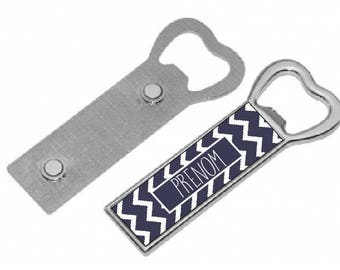 """CHEVRON Navy"" personalized magnetic bottle opener"