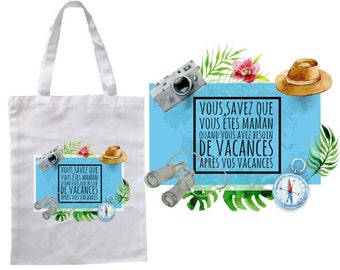 "TOTE BAG 100% cotton ""you know you're MOM..."""