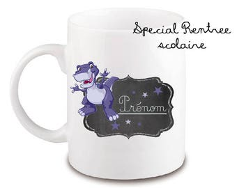 "MUG INCASSABLE SPECIAL school class of ""Lil dino"" personalized with name"