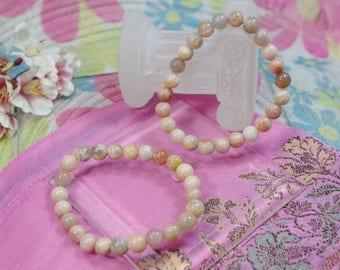 Natural Rainbow Moonstone and Sunstone gemstone bracelet