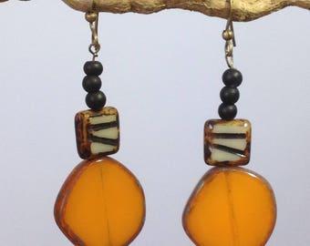 Long earrings Orange Masango. Long Orange ear pendant Masango