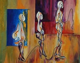Morpho-logic 1, acrylic painting, figurative painting, canvas frame