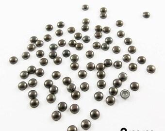 Round Thermo nail - aged black - 3mm - x 80pcs