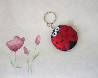 Ladybug red and black felt key chains