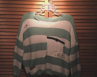 Distressed Striped Cropped Sweater