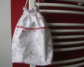 Kids printed cotton and lined pouch bag