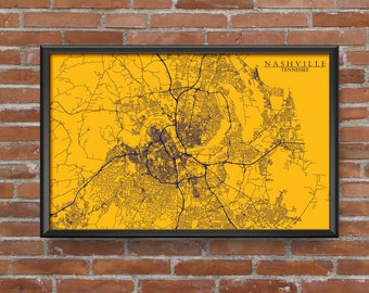 Nashville, Tennessee Map Art