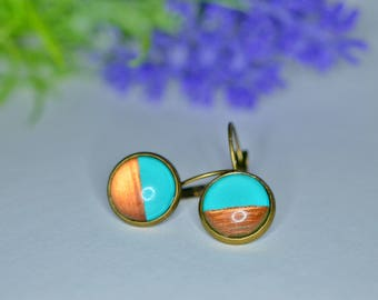 Earrings Turquoise and Rose Gold.