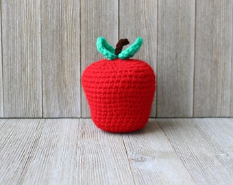 SALE! New Handmade Crochet Red Delicious Apple / Little Amigurumi / Plush Toy / Back to school teacher's gift ~ Ready to ship