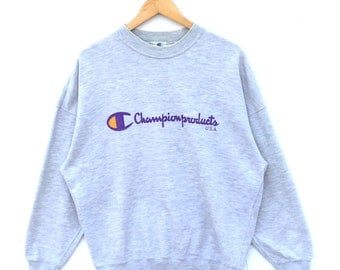Champion Sweatshirt Big Logo Spell Out Vintage 90s Made In Japan Grey Colour Champion Jumper Pullover Hoodie Size O Champion product