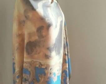 Exquisite Authentic Dolce & Gabbana Renaissance Cherub Print Silk Scarf Wrap w/ Gold Border 90s Vintage Religious Art