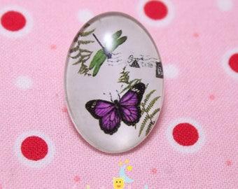 Glass cabochon oval pattern Purple Butterfly 18 / 25mm