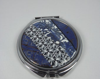 Navy Blue Pocket mirror with polymer clay (fimo)