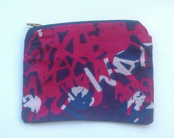 Layered letter hand screen printed cotton coin purse