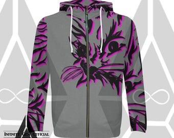 Cat Hoodie, Kitty Hoodie, Mens Zippered Hoodie, Cat Print Hoodie, Graphic Hoodie, Cat Art, Purple Cat, Cat Print, Mens Zip Hood