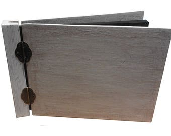 Wooden photo album/ guest book handmade 25x A4 sheets whitewashed rustic look