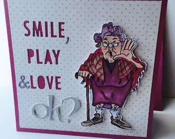 "card ""smile, play & love, okay?"" oh now here!"