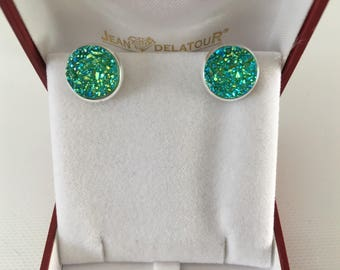 Earrings Druzy round cabochon resin