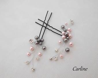 Lot 2 peaks wedding rhinestone hair bun and pearls Nacreesswarovski pink light gray