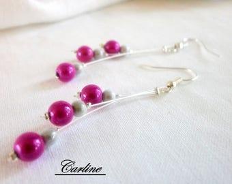 Earrings - Cascadia - pearls magic Fuchsia white wedding