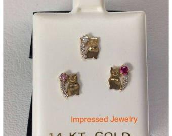 14K Yellow real Gold Kitty Kitten Cat Stud Heart color CZ Screwback Earrings Children women