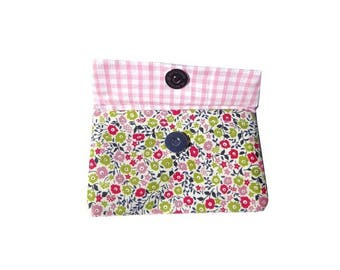 wallet and card holder and liberty Fairford pink and green gingham, item made in france