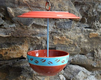 """Red and turquoise"" bird feeder"