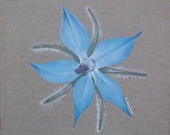 "Painting on linen ""Borage flower"" 30 x 30 cm"