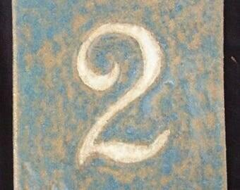 Modern enamel door number, number 2, resistant to frost