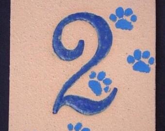 Door number, ocher, number 2 and original decor cat paws