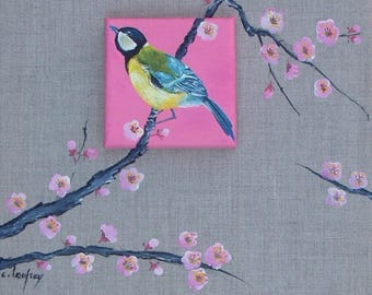 """""""Great tit and cherry"""" Asian inspiration Board - mixed media"""