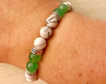 Howlite and Aventurine 8mm Beaded Bracelet