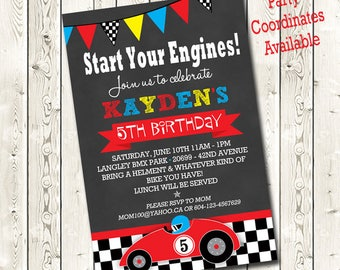 Race Car Birthday Invitations, Race Car Invitation, Race Car Birthday Parties, Birthday Invitations,Printable Invitations, Digital Download