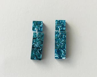 Baby Blue Lux Glitter Rectangles