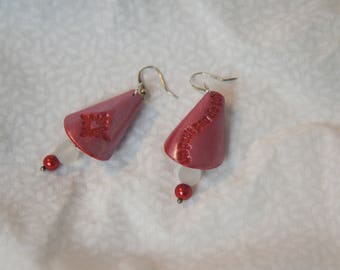 "Pearly red earring with Pearl, embossed inscription ""just for you"", romantic jewelry handmade asymmetrical heart buckle"