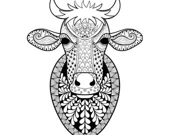 Hand drawn Cow head patterned