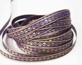 Purple design 1 cm x 1 m gold Indian trim