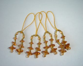 4 TASSELS IN CARAMEL AMBER COLOR BEADS