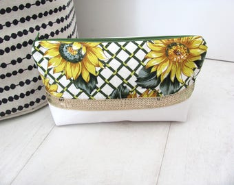 White cotton makeup sunflower