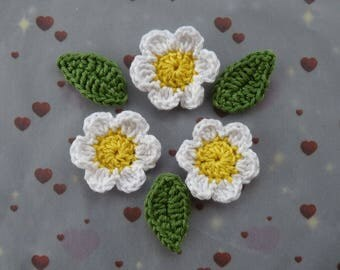 three daisies and three leaves crochet cotton