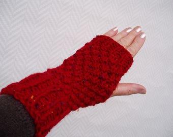 "Fingerless gloves, ""Ruby"" pure hand knitted wool fingerless glove"