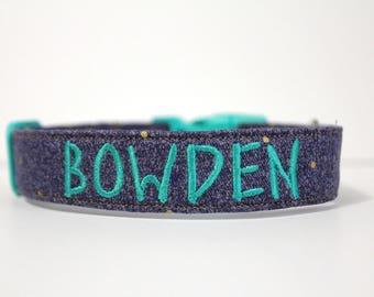 Denim and Gold Polka Dot Collar, Denim Personalized Dog Collar, Polka Dot Collar, Embroidered Collar, Custom Collar, Dog Collar, Collar
