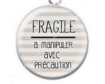 Pendant cabochon resin fragile handle with care