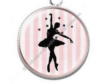 Pendant cabochon resin ballerina dancer