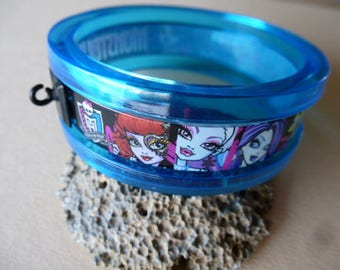Bracelet child monsters monster blue plastic with hook for support charm diameter 7 cm x 2.4 cm