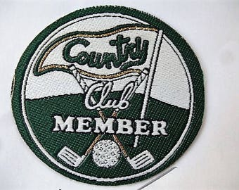 vintage COUNTRY Club Member golf badge for customization sewing craft or sewing patch applique